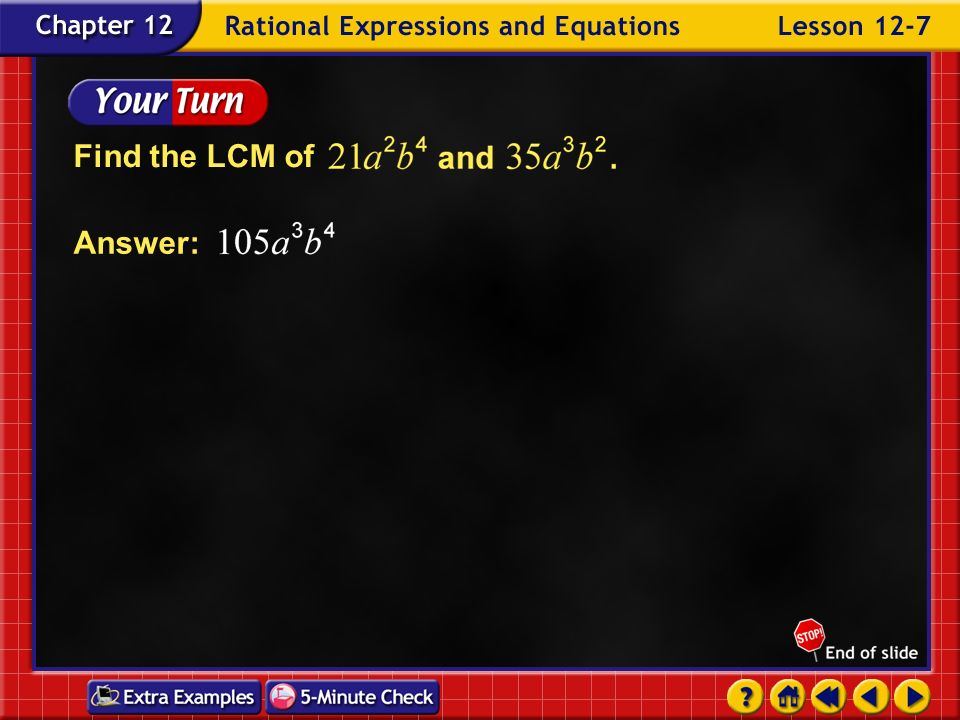 Find the LCM of Answer: Example 7-1b