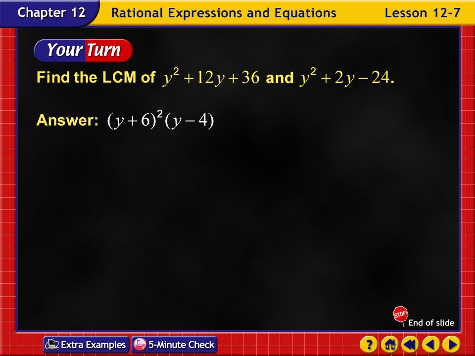 Find the LCM of Answer: Example 7-2b