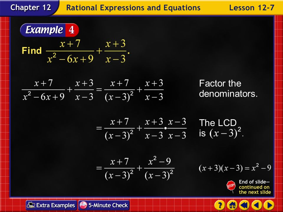 Factor the denominators.