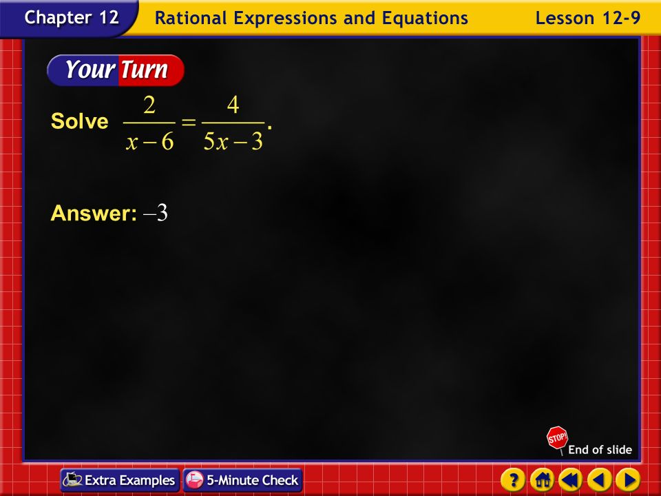 Solve Answer: –3 Example 9-1b