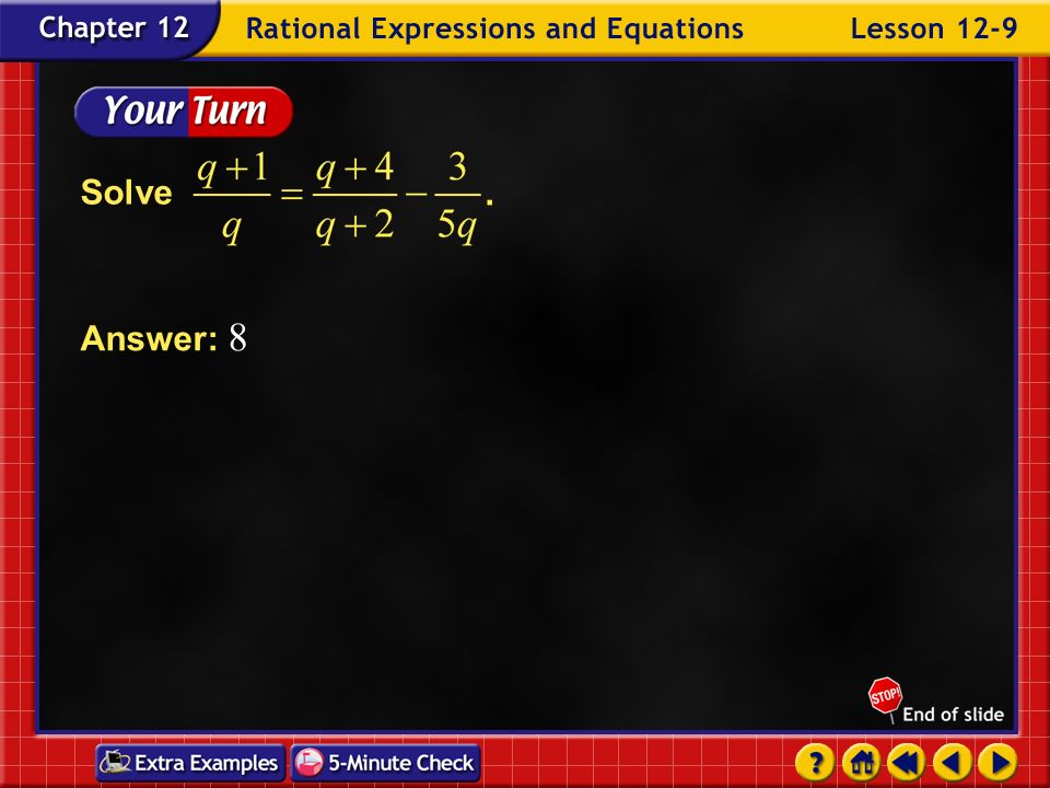 Solve Answer: 8 Example 9-2c