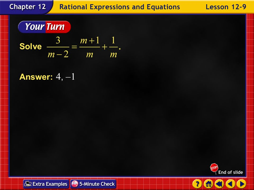 Solve Answer: 4, –1 Example 9-3e