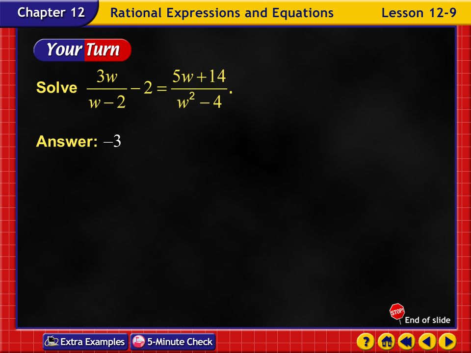 Solve Answer: –3 Example 9-7c