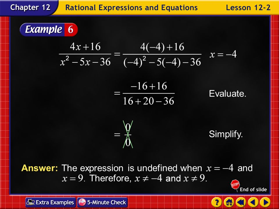 Answer: The expression is undefined when and Therefore,