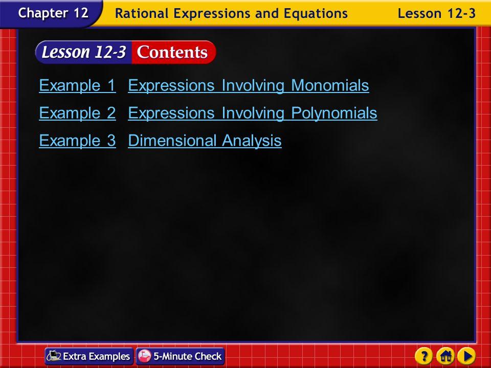 Example 1 Expressions Involving Monomials