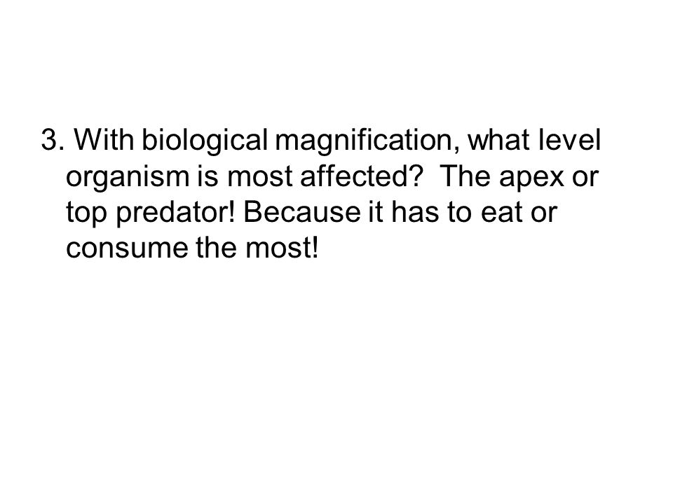 3. With biological magnification, what level organism is most affected