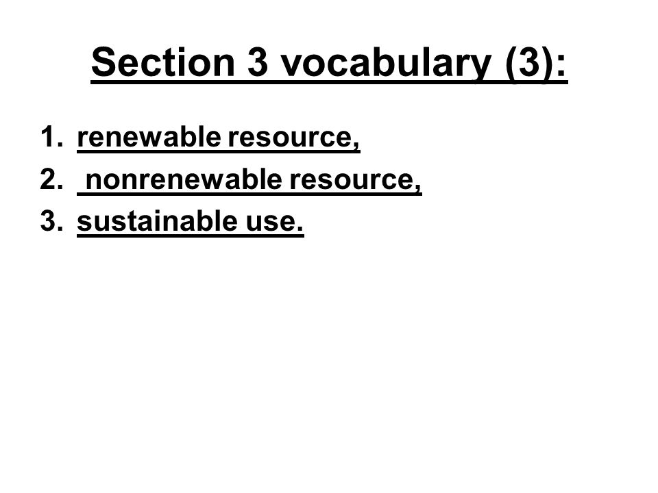 Section 3 vocabulary (3):
