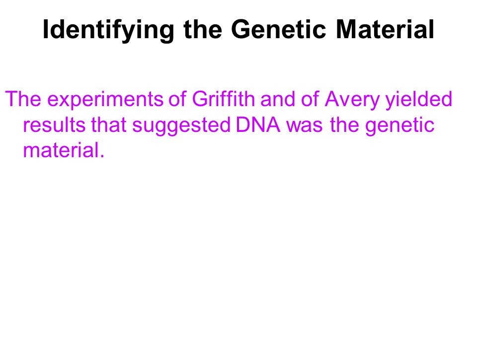 Identifying the Genetic Material