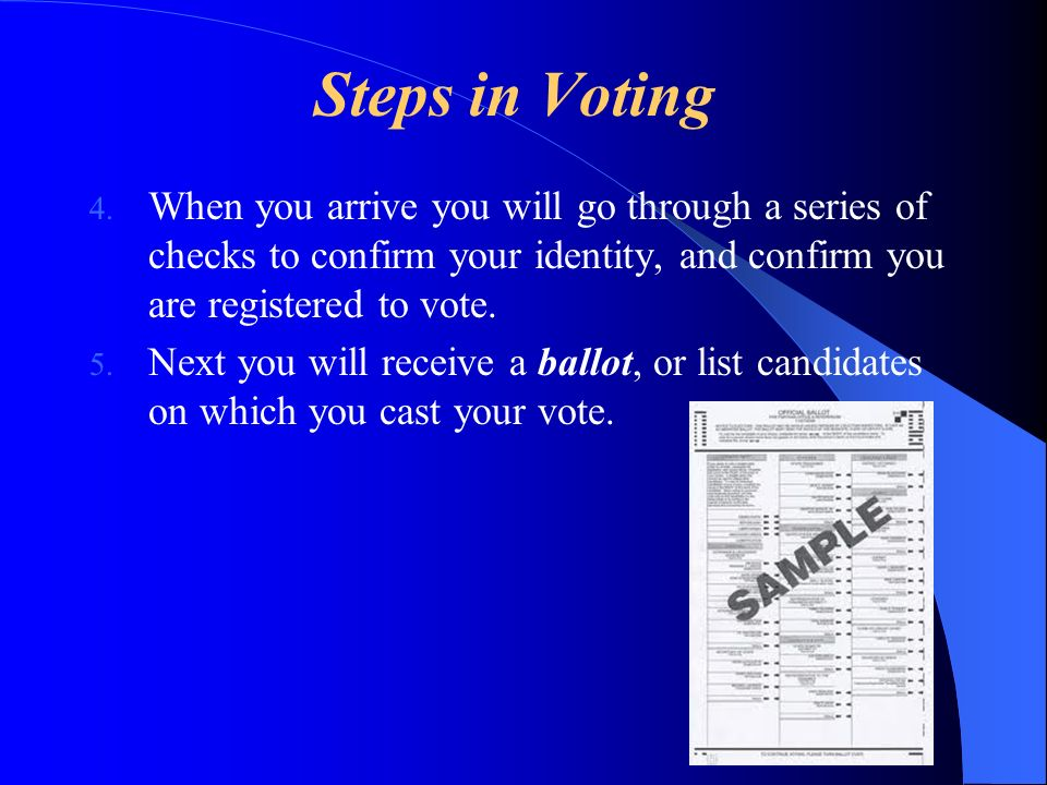 Steps in Voting When you arrive you will go through a series of checks to confirm your identity, and confirm you are registered to vote.