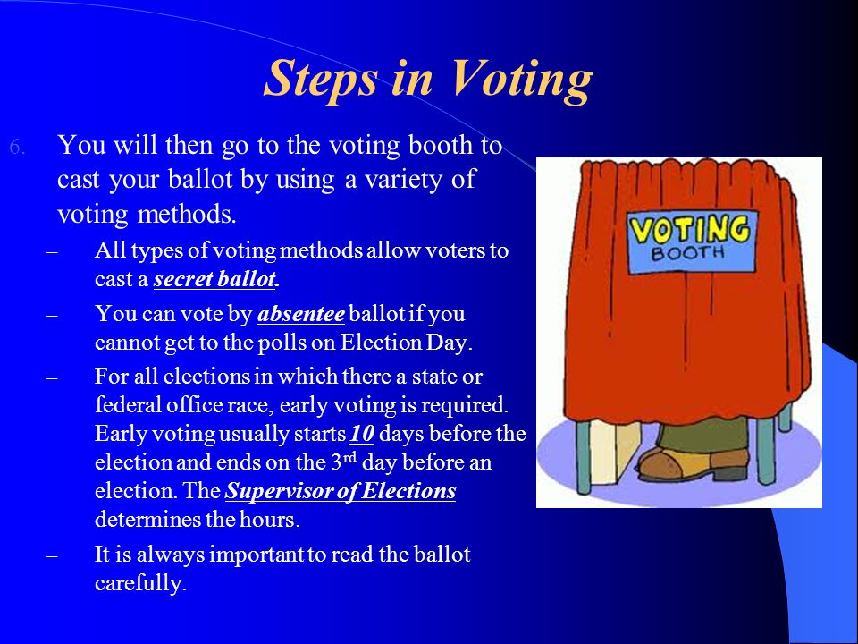 Steps in Voting You will then go to the voting booth to cast your ballot by using a variety of voting methods.