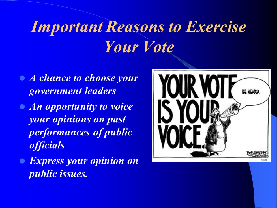 Important Reasons to Exercise Your Vote