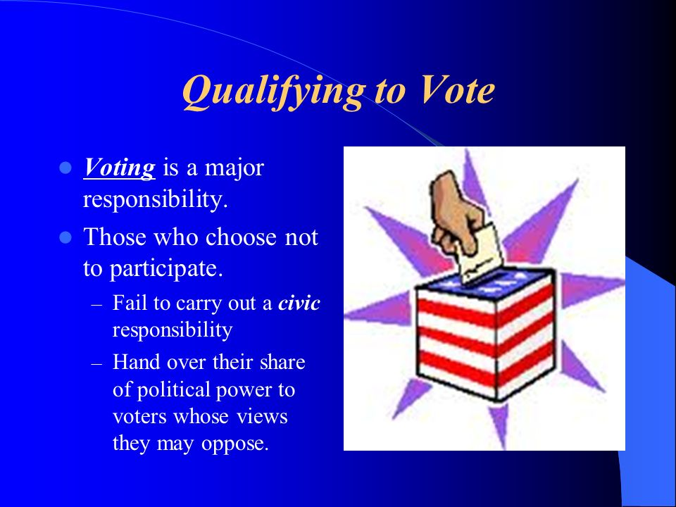 Qualifying to Vote Voting is a major responsibility.