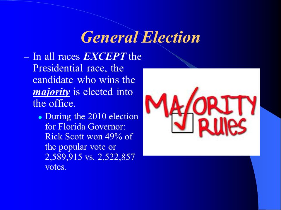 General Election In all races EXCEPT the Presidential race, the candidate who wins the majority is elected into the office.