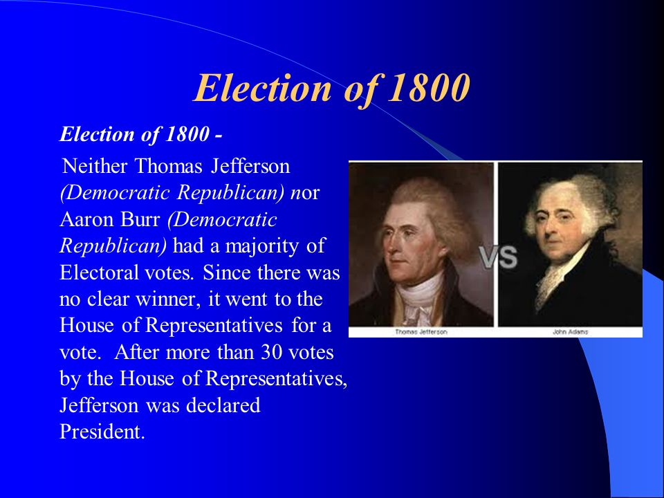 Election of 1800 Election of 1800 -