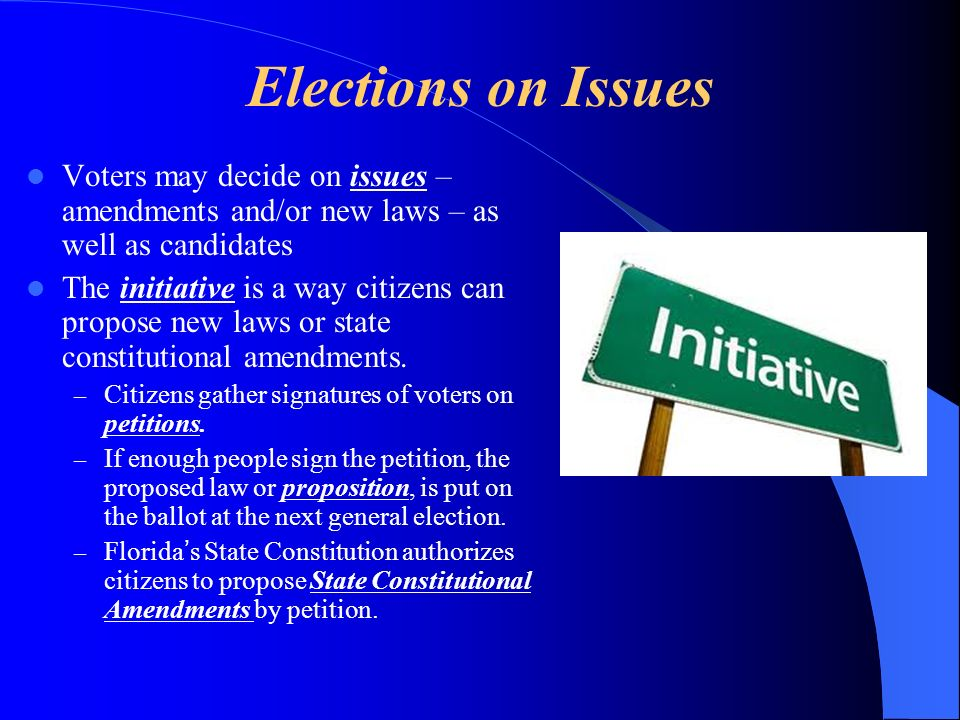 Elections on Issues Voters may decide on issues – amendments and/or new laws – as well as candidates.