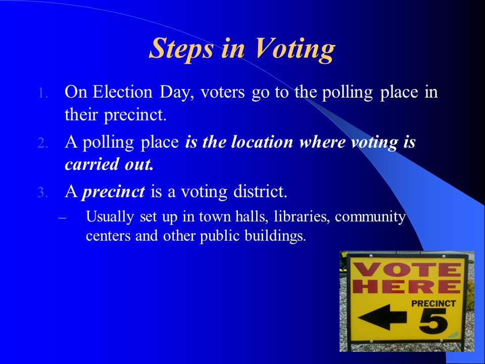 Steps in Voting On Election Day, voters go to the polling place in their precinct. A polling place is the location where voting is carried out.