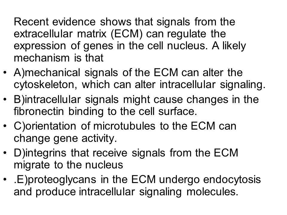 Recent evidence shows that signals from the extracellular matrix (ECM) can regulate the expression of genes in the cell nucleus. A likely mechanism is that