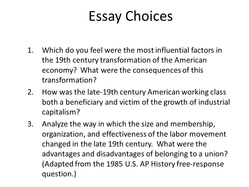 industry urbanization immigration and the gilded age ppt  essay choices
