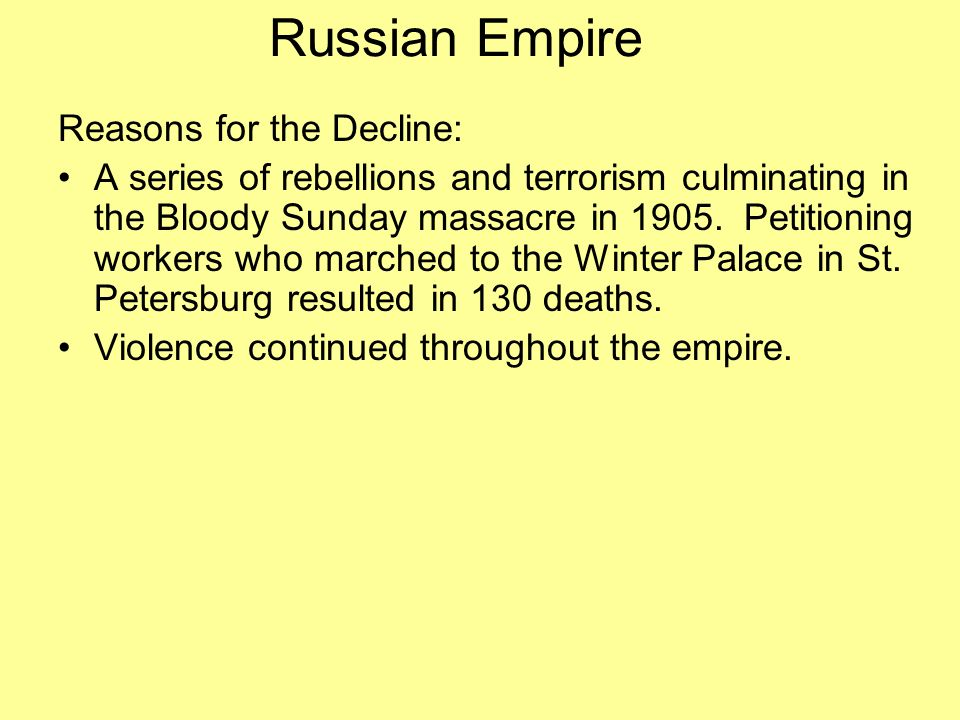 Russian Empire Reasons for the Decline: