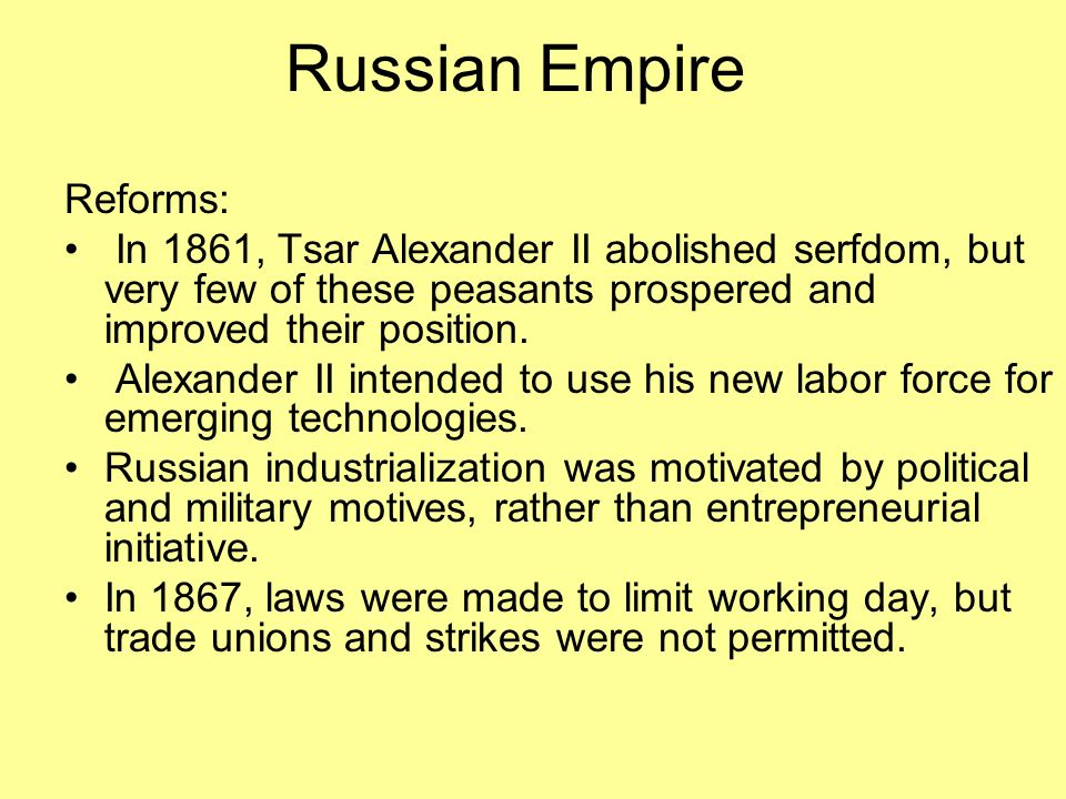 Russian Empire Reforms: