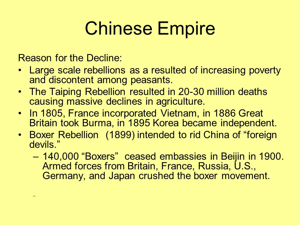 Chinese Empire Reason for the Decline: