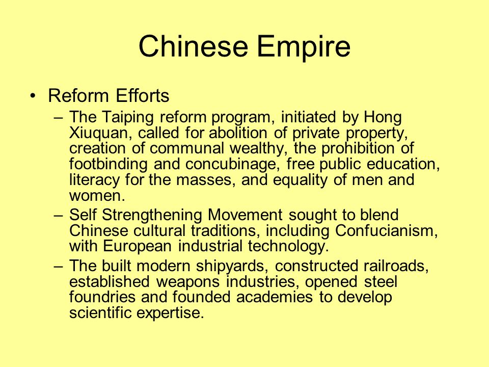 Chinese Empire Reform Efforts
