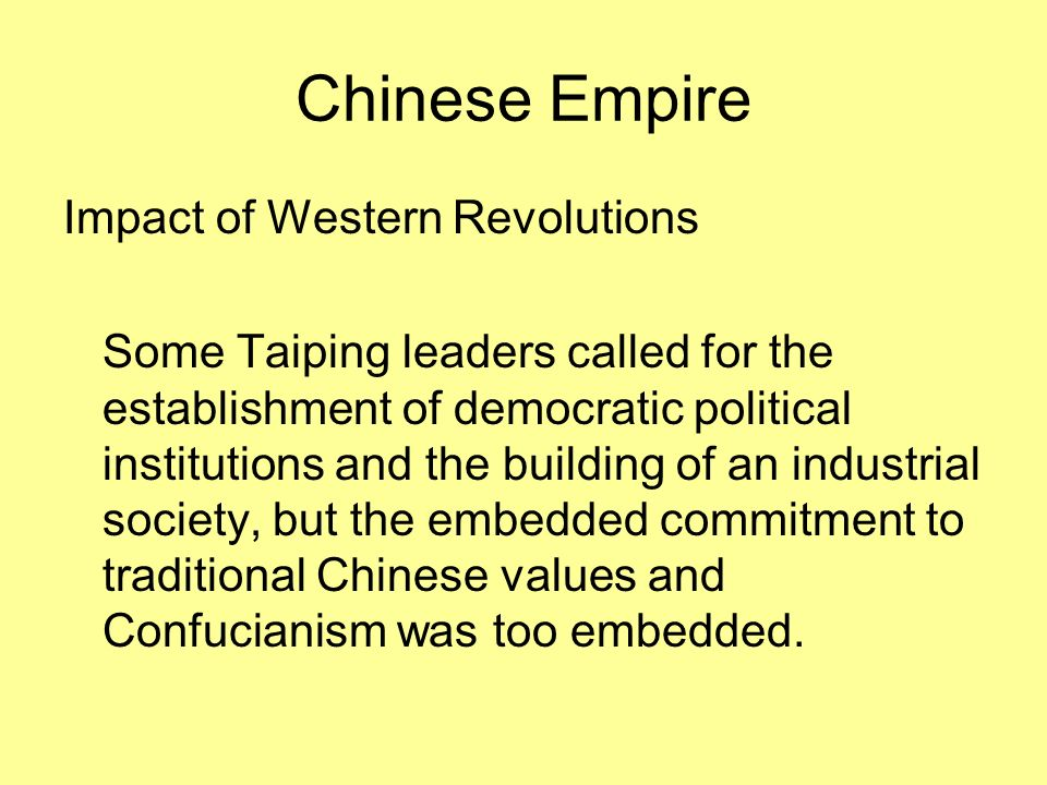 Chinese Empire Impact of Western Revolutions