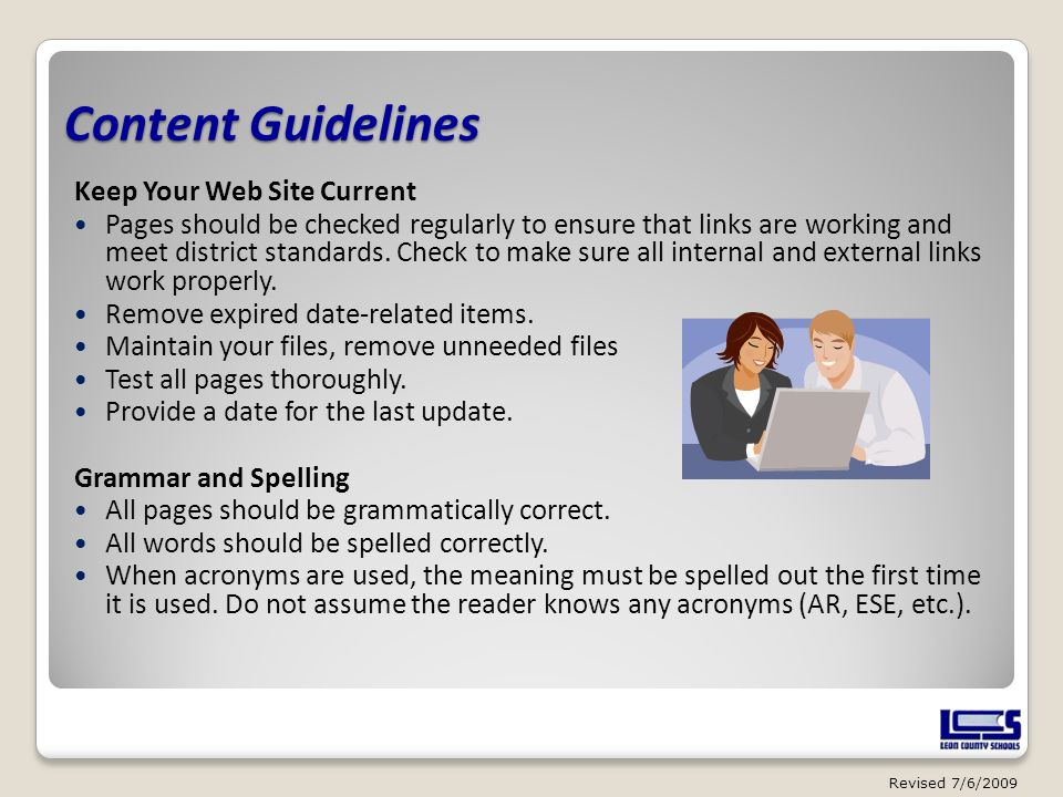 Content Guidelines Keep Your Web Site Current