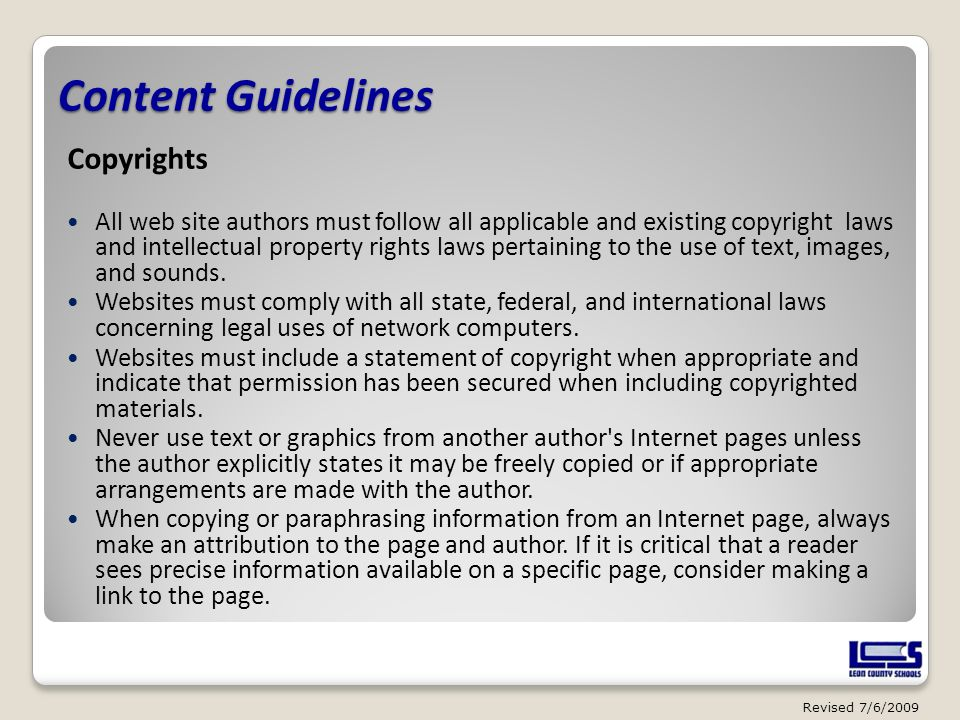 Content Guidelines Copyrights