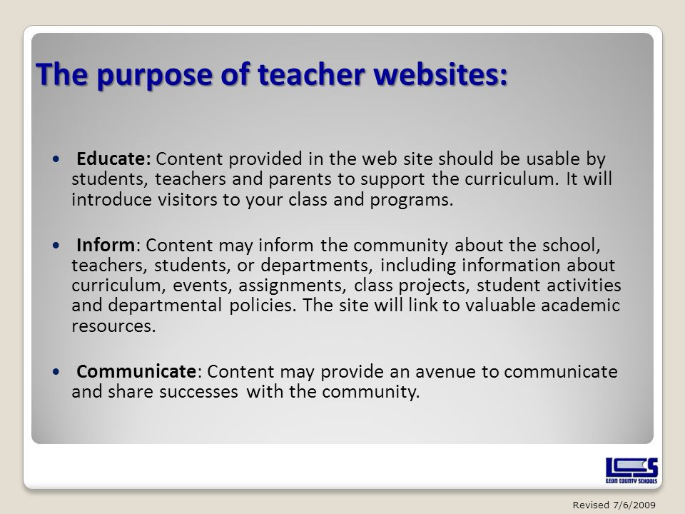 The purpose of teacher websites: