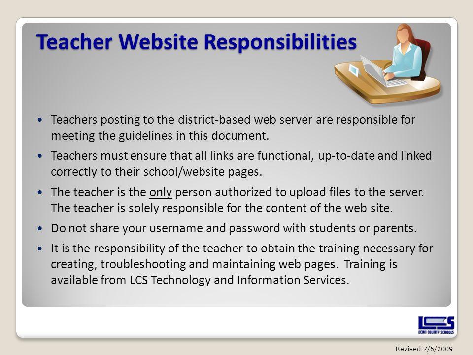 Teacher Website Responsibilities