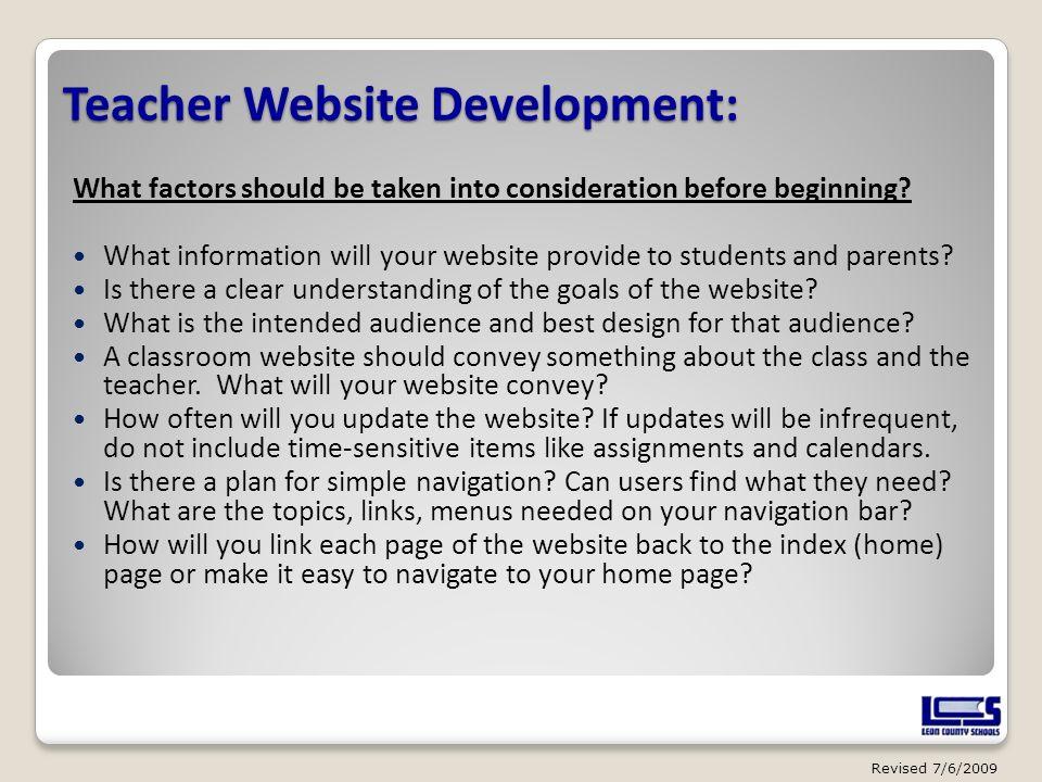 Teacher Website Development: