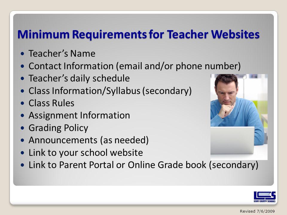 Minimum Requirements for Teacher Websites