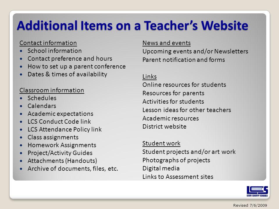 Additional Items on a Teacher's Website