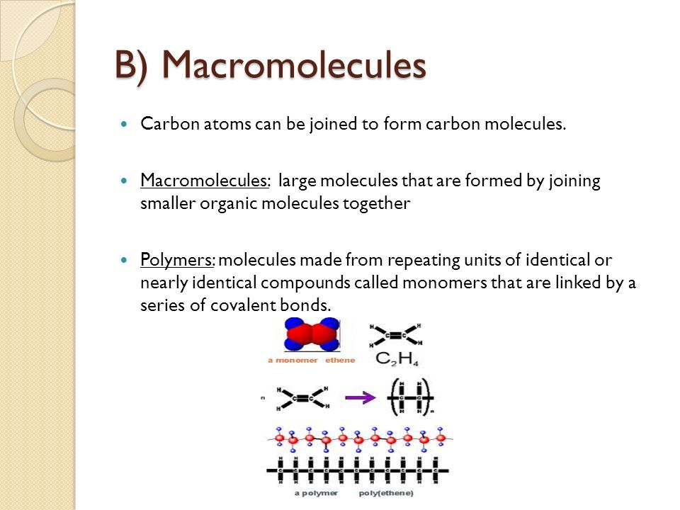 a description of polymers large molecules composed of smaller molecules called monomers Large molecules made up of chains of repeating units are puus 16  18  substances to the left of the yields arrow in a chemical equation are called ye  acht)  d identification: identify each of the following types of monomers or  polymers h  units, or can be composed of hundreds or thousands of smaller  molecules.