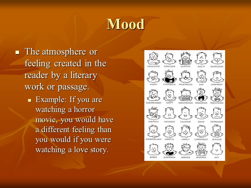 Mood The atmosphere or feeling created in the reader by a literary work or passage.