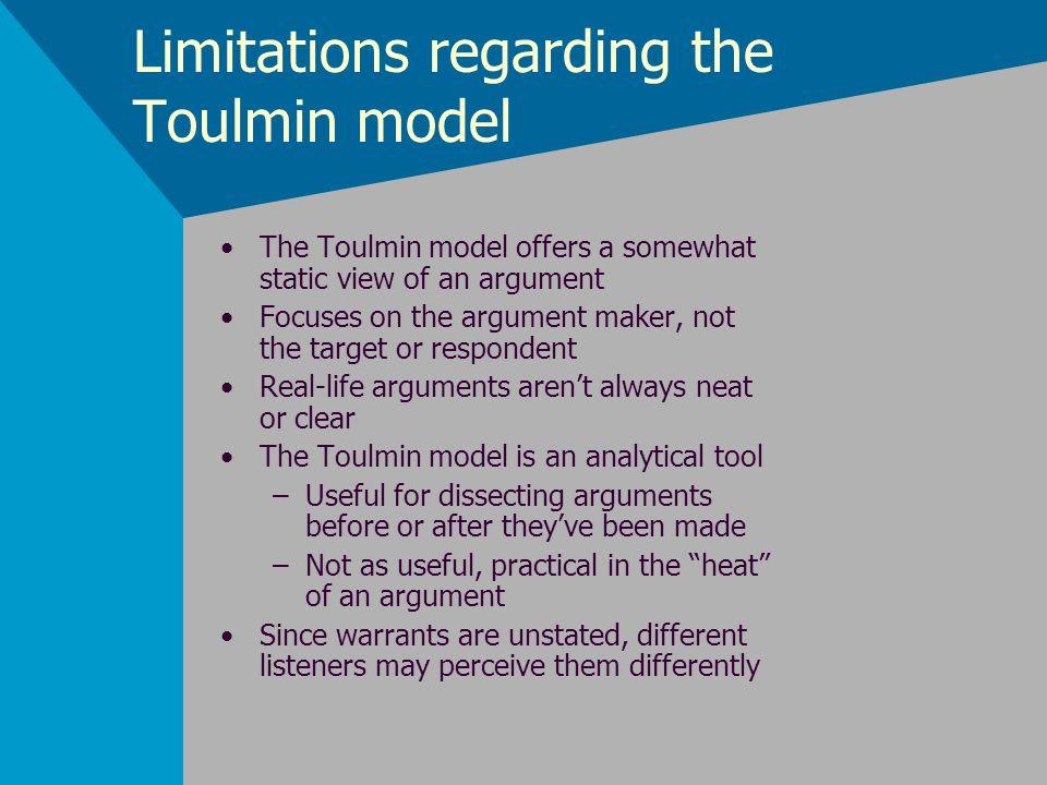 Limitations regarding the Toulmin model