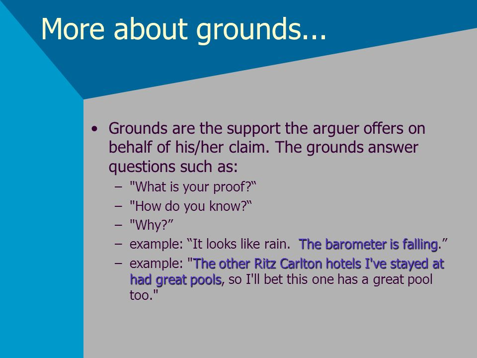 More about grounds...Grounds are the support the arguer offers on behalf of his/her claim. The grounds answer questions such as: