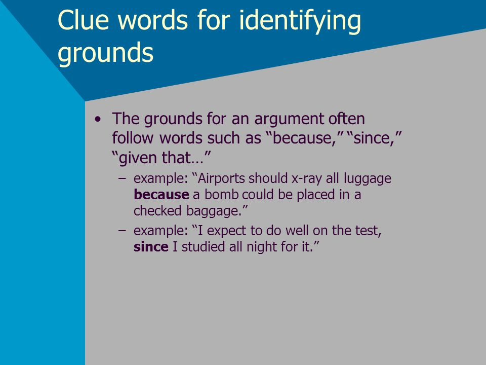 Clue words for identifying grounds