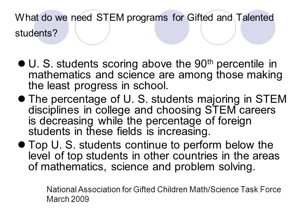 What do we need STEM programs for Gifted and Talented students
