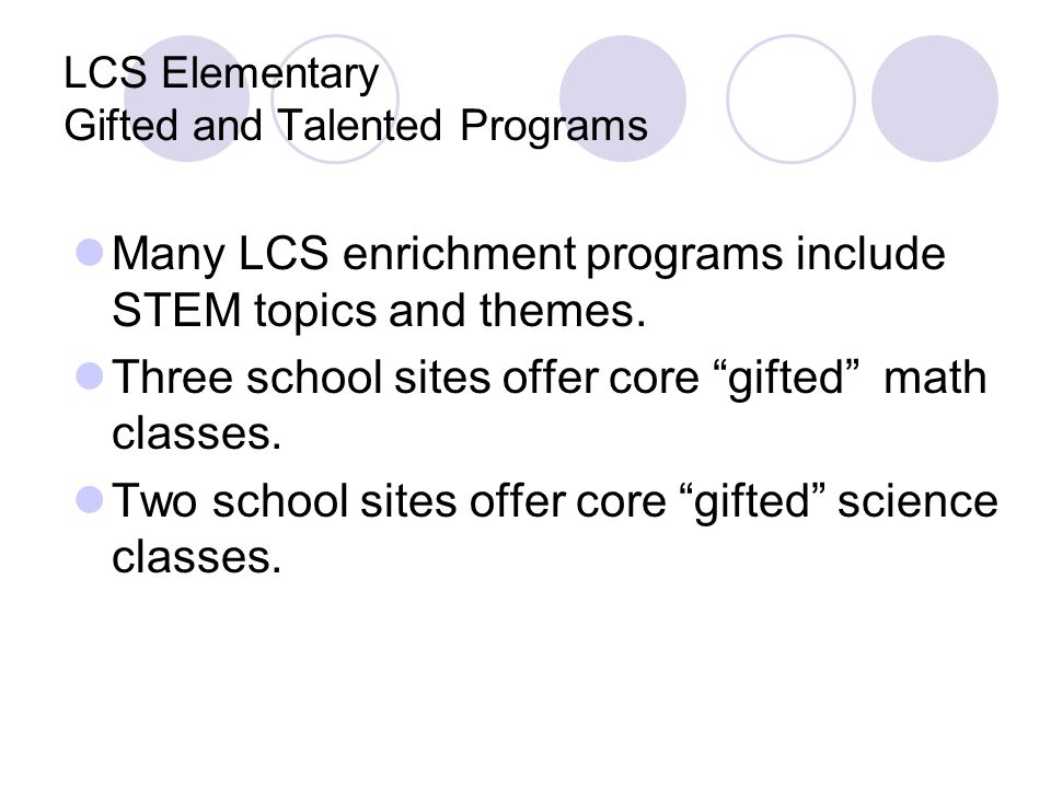 LCS Elementary Gifted and Talented Programs