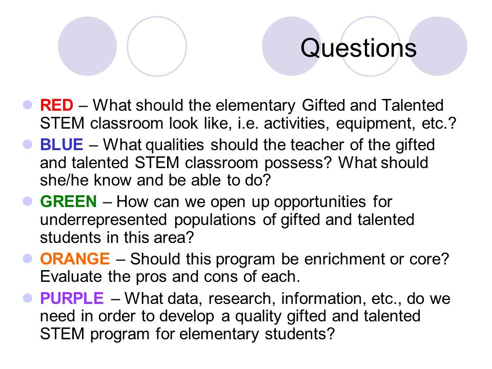 Questions RED – What should the elementary Gifted and Talented STEM classroom look like, i.e. activities, equipment, etc.