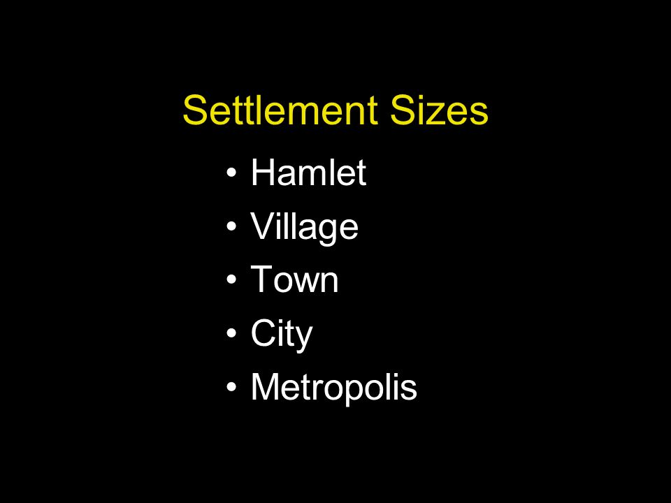 Settlement Sizes Hamlet Village Town City Metropolis