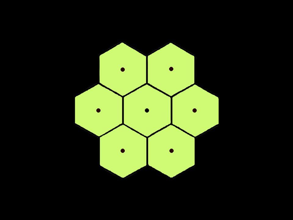 The only geometric shape that resolves this conflict is the hexagon