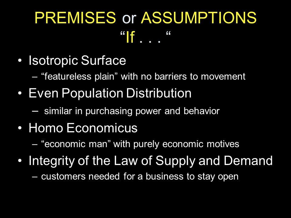 PREMISES or ASSUMPTIONS If . . .