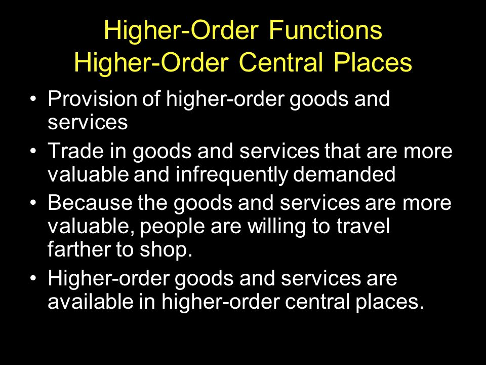 Higher-Order Functions Higher-Order Central Places