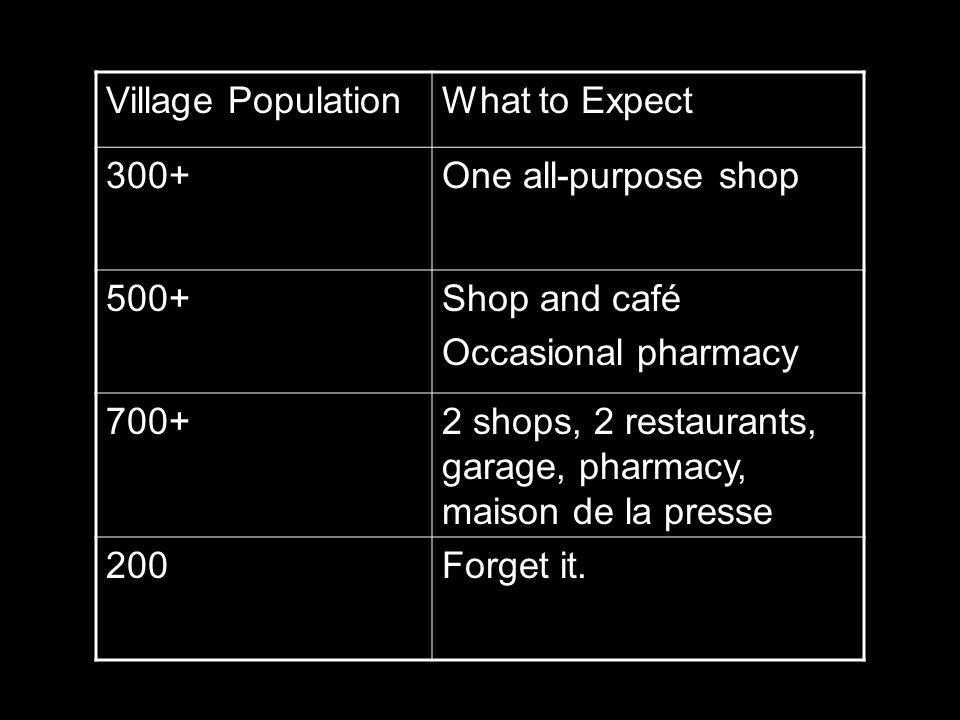 2 shops, 2 restaurants, garage, pharmacy, maison de la presse
