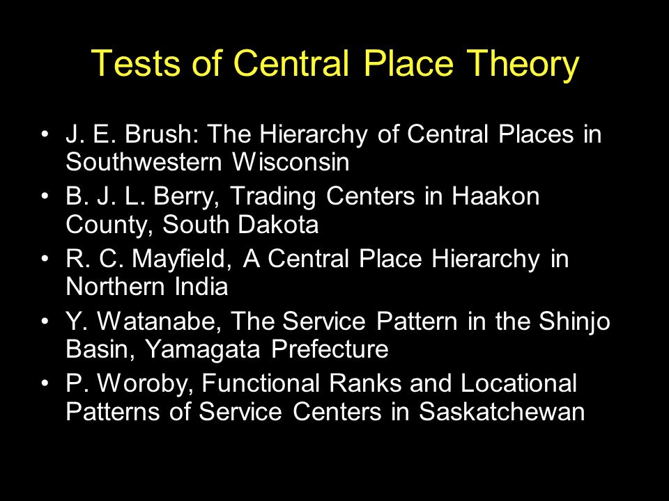 Tests of Central Place Theory