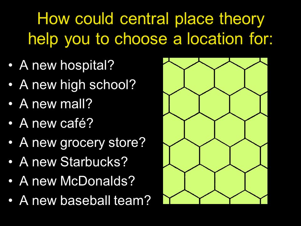How could central place theory help you to choose a location for: