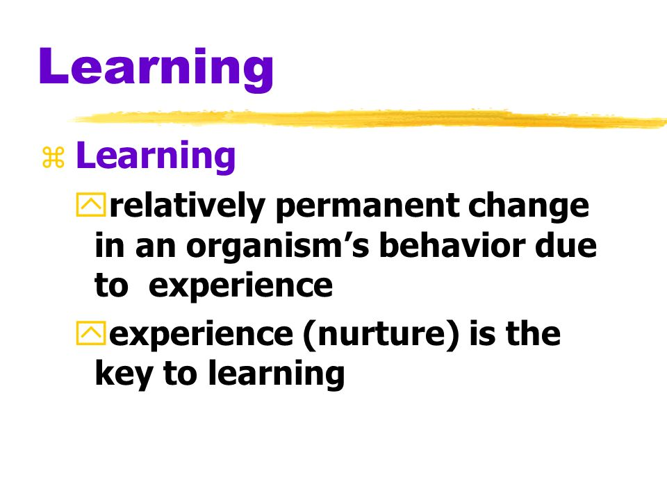 Learning Learning. relatively permanent change in an organism's behavior due to experience.